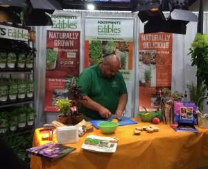 Chef Jonathan Bardzik demonstrating cooking with Footprints Edibles plants